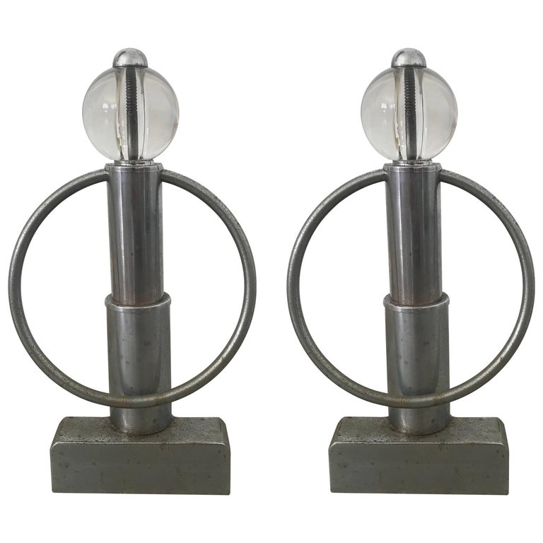 Pair of Art Deco Chrome and Glass Andirons For Sale