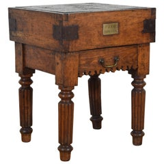 French Louis Philippe Period Chopping Block with Drawer and Origin Plaque