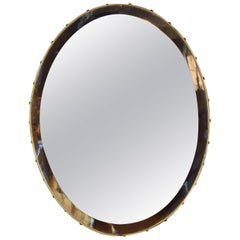 Italian Mid-20th Century Brass Framed Oval Mirror with Bevelled Mirror Plate