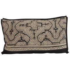 Graphic Tribal Natural and Black Lumbar Decorative Pillow