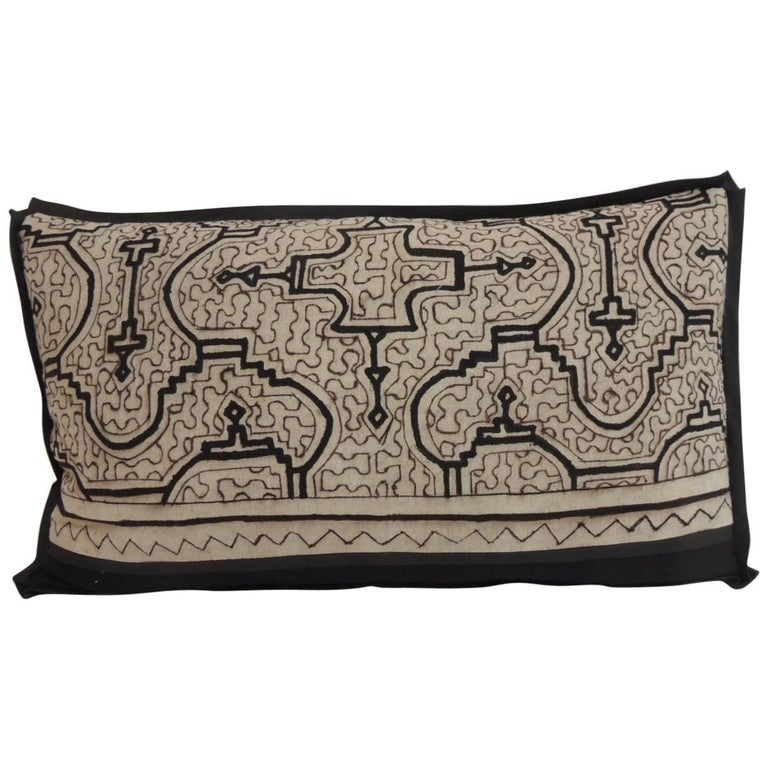 Decorative Black Lumbar Pillow : Graphic Tribal Natural and Black Lumbar Decorative Pillow For Sale at 1stdibs