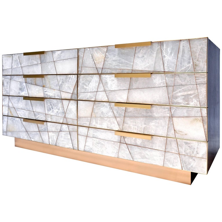 Mosaic Dresser in Selenite, Bronze and American Walnut by Newell Design