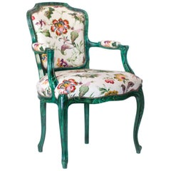 Louis XV Style French Fauteuil Chair with Faux Malachite Finish