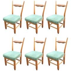 Guillerme et Chambron, Set of Six Oak Chairs, Edition Votre Maison, circa 1970
