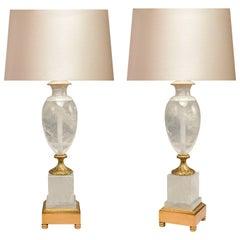 Pair of Ormolu-Mounted Rock Crystal Lamps