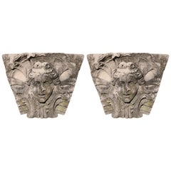 "Pair of Baroque Limestone Keystones from John Jacob Astor's ""Chetwode"" Newport"