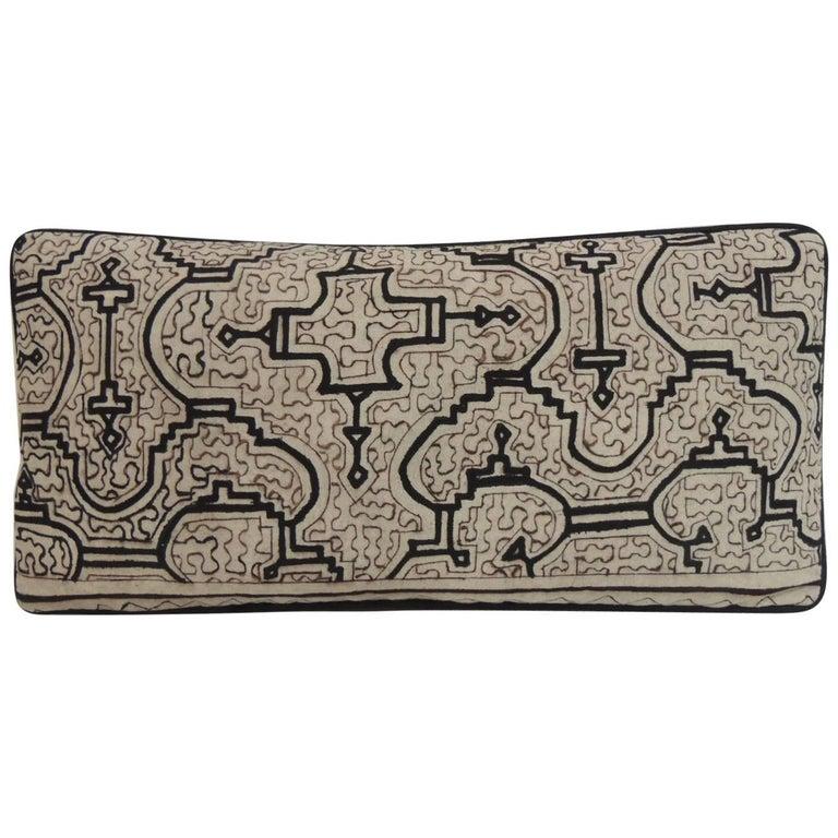 Graphic Tribal Natural and Black Lumbar Decorative Pillow