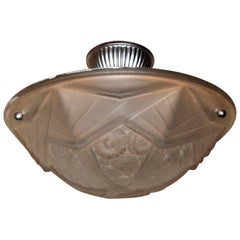 French Art Deco Frosted Glass Pendent Semi Flush Three-Light Gilt Fixture