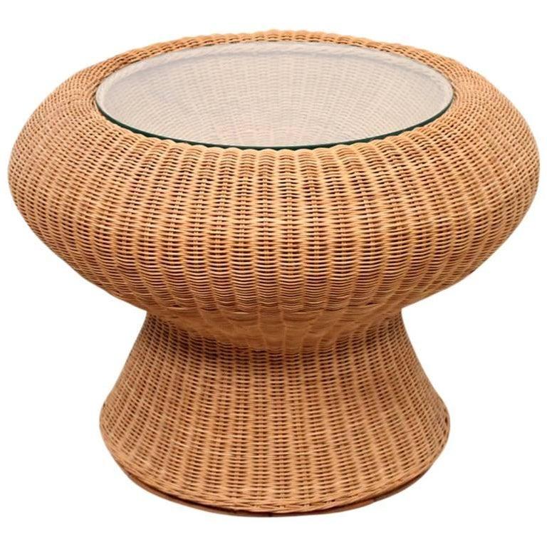 Rare Isamu Kenmochi Rattan Side Table For Sale