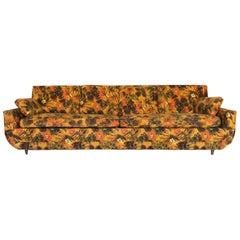 1967 Vintage Bernard Castro Mid-Century Modern Floral Sleeper Sofa