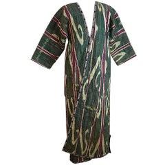 Silk Ikat Uzbekistan Chapan Robe early 20th century