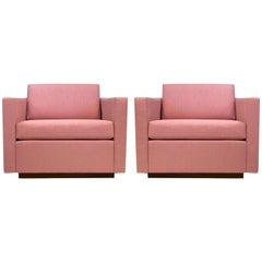 Pair of Harvey Probber Cube Lounge Chairs on Walnut Plinth Bases