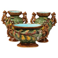 19th Century French Ceramic Barbotine Vases and Jardinière with Pear Decor