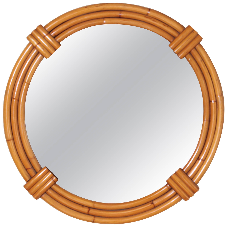 Art Deco Streamline Rattan Wall Mirror, Triple Band, Manner of Paul Frankl