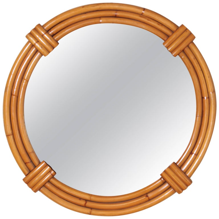 Art Deco Streamline Rattan Wall Mirror, Triple Band, Manner of Paul Frankl For Sale