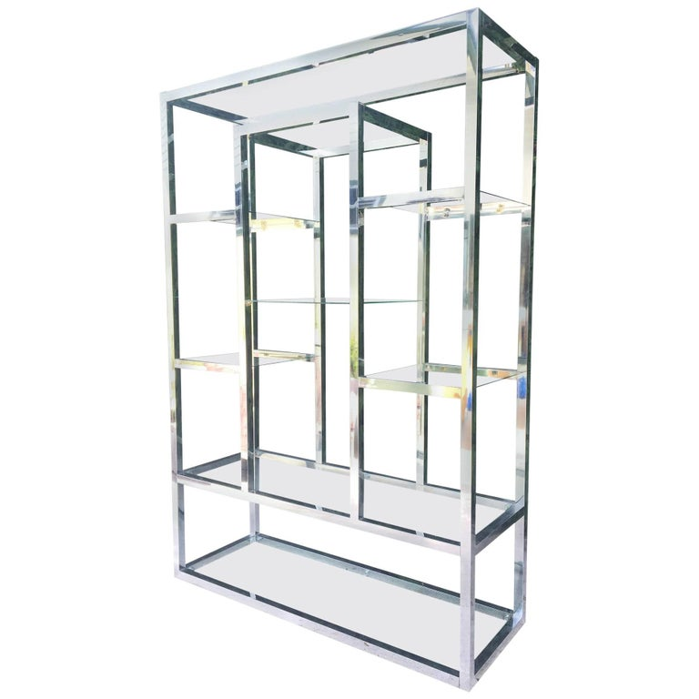 chrome and glass milo baughman style modern etagere for sale at 1stdibs. Black Bedroom Furniture Sets. Home Design Ideas