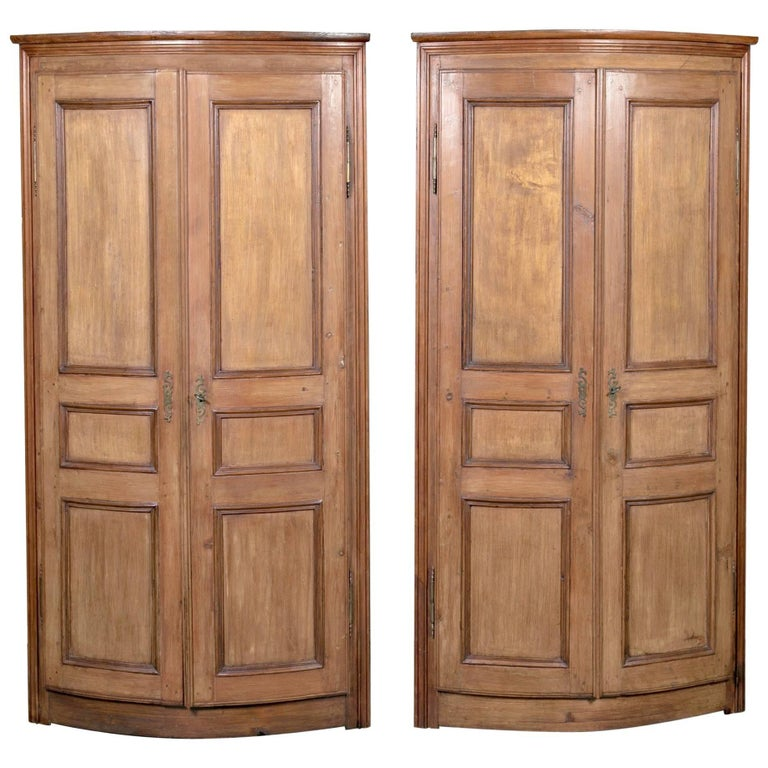 Pair of Antique French Boiserie Panel Corner Cabinets