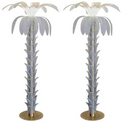 Two Opaline Palm Lamp, Murano, Eight Long Leaves, 52 Stem Elements, 1990s