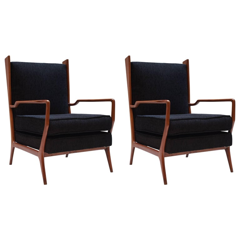 Pair of Rare Vintage 1960s Rino Levi Armchairs For Sale