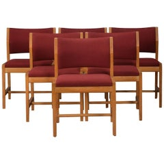 1970s Borge Mogensen Set of Six Model 3241 Dining Chairs in Oak