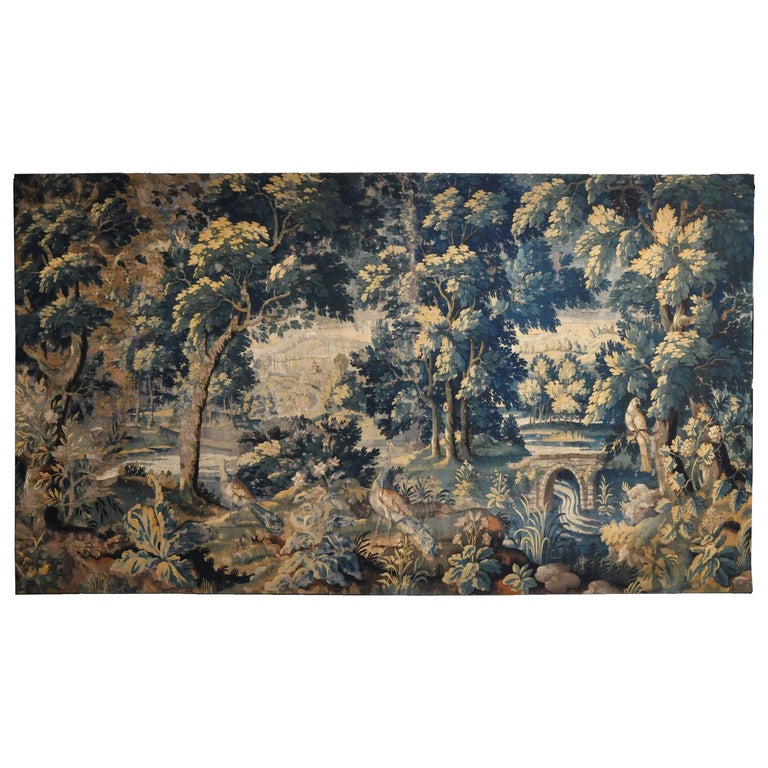 18th Century Flemish Verdure Tapestry For Sale