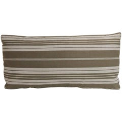 Vintage French Tan and White Stripes Bolster Decorative Pillow