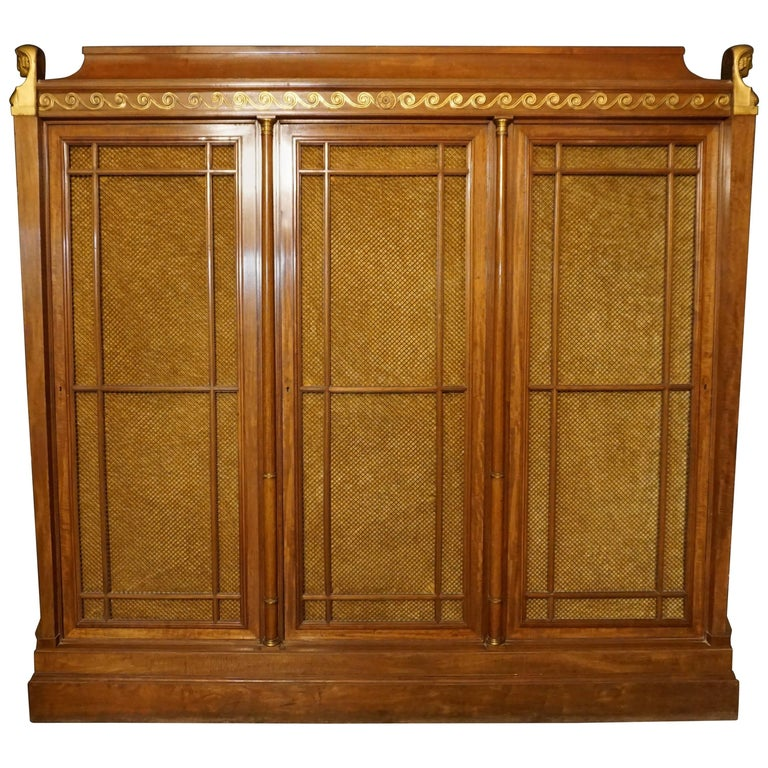 Rare and Magnificent Neoclassical Mahogany Bibliotheque Bookcase