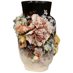 Large 19th Century French Hand Painted Barbotine Vase with Flowers from Montigny