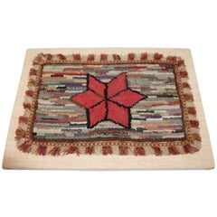 Early 19th Century NE Mounted Mini Star Hooked Rug
