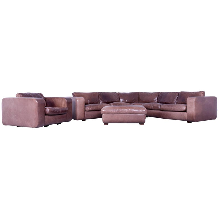 machalke valentino corner sofa mocca brown anilin leather modern designer for sale at 1stdibs. Black Bedroom Furniture Sets. Home Design Ideas