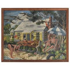 Midcentury Florida Beach Scene Painting