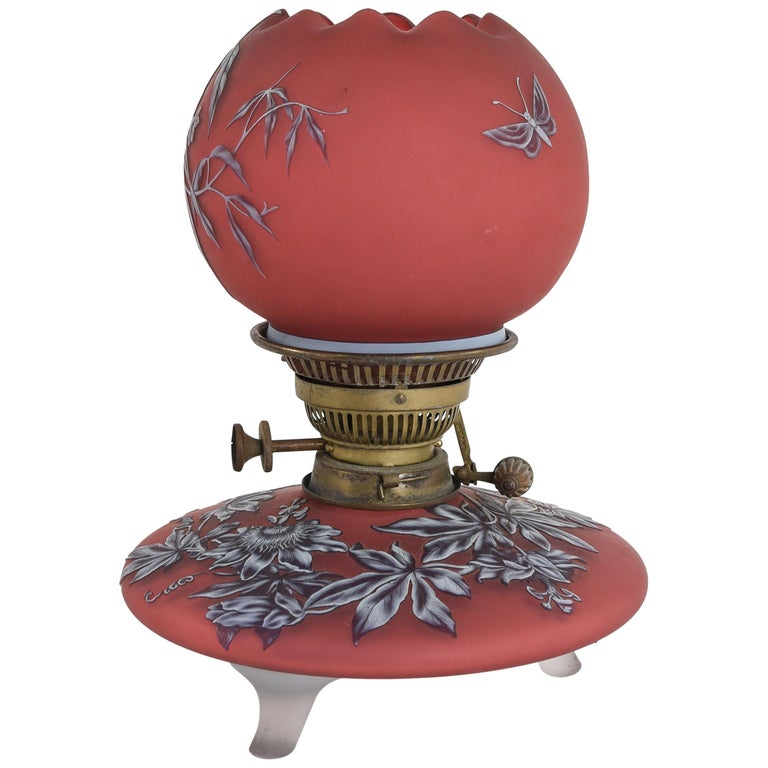 Attributed to Thomas Webb English Cameo Glass Oil Lamp, circa 1890s For Sale