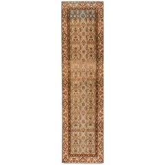 Antique Beige and Brown Persian Hamadan Runner Rug