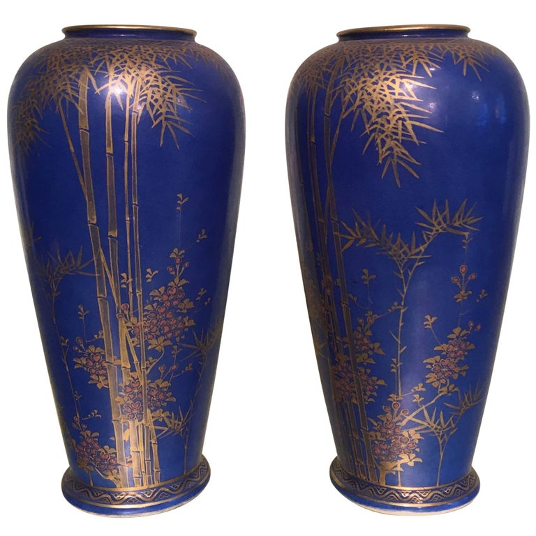 Pair Of Japanese Cobalt Vases For Sale At 1stdibs