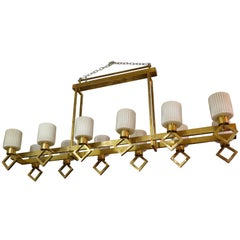 Murano Brass and Art Glass Italian Art Deco Chandelier, 1930