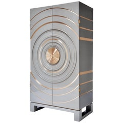 Arc Cabinet in Grey Lacquer and Bronze by Newell Design