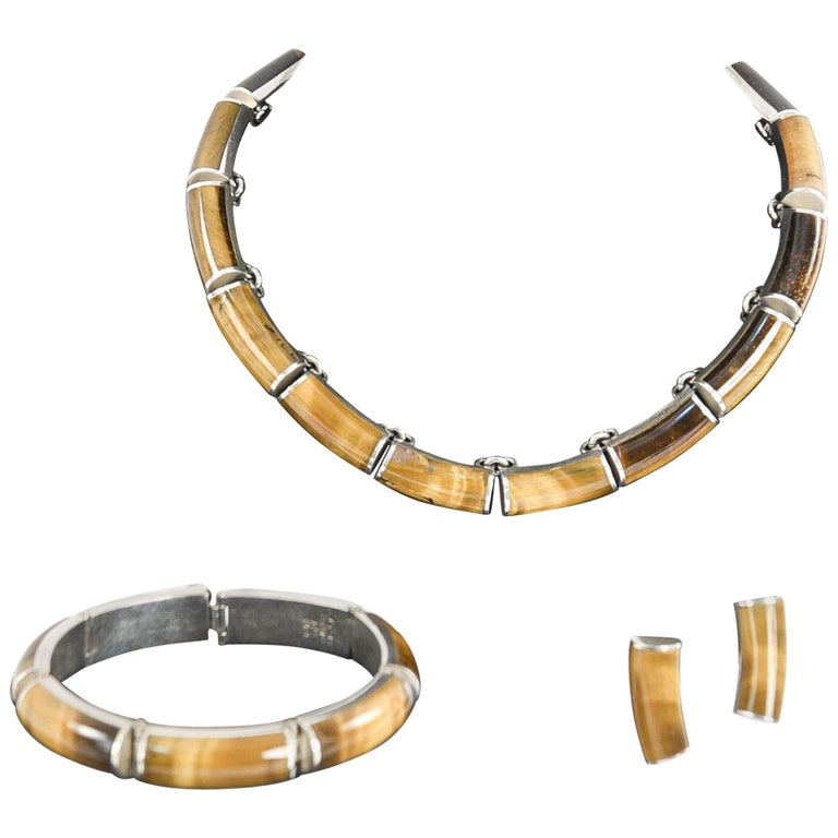 Mexican Sterling Silver and Tigers Eye Jewelry Set For Sale