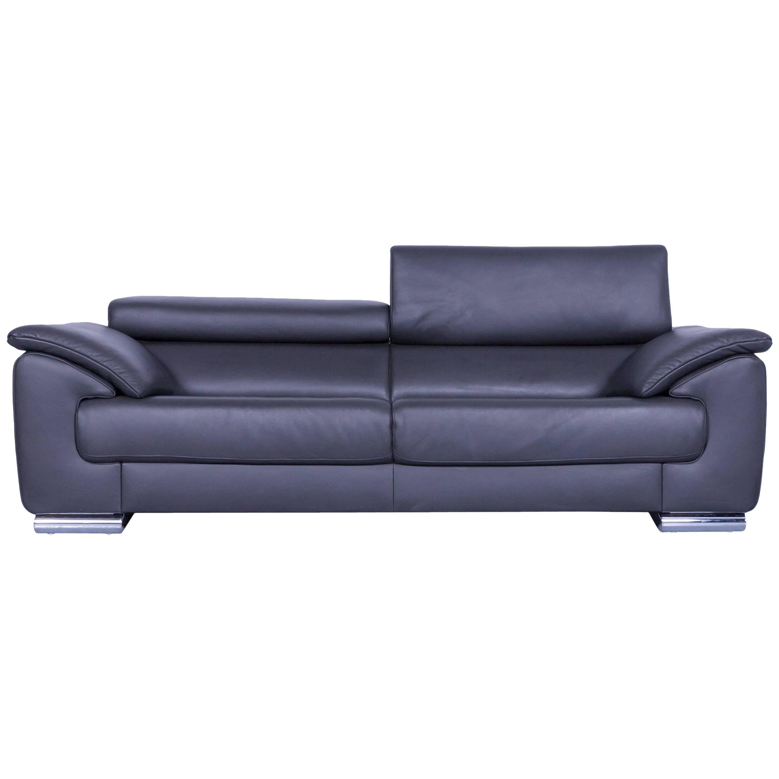 Ewald Schillig Brand Blues Designer Sofa Anthracite Dark Grey Leather Couch  For Sale