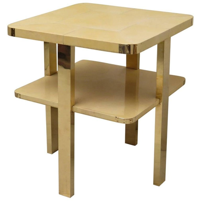Art Deco Square GoatSkin and Brass Italian Side Table, 1920 For Sale