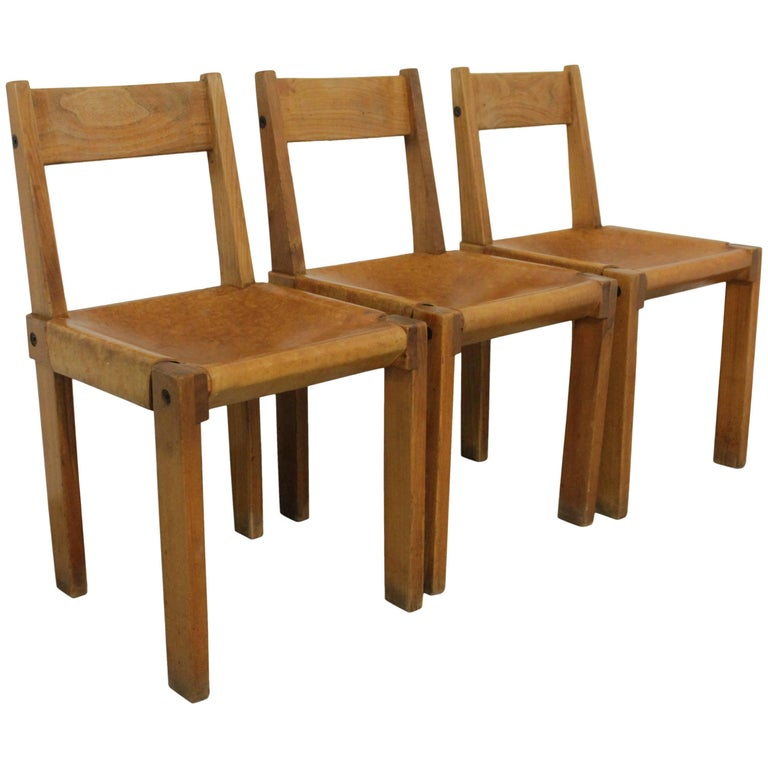 Set of Three S24 Dining Chairs by Pierre Chapo