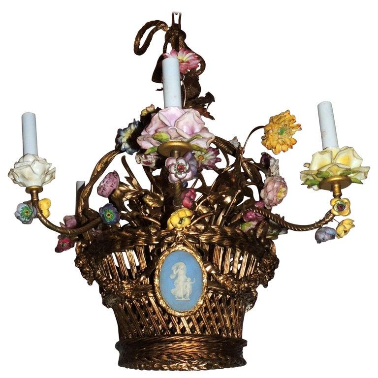 Wonderful French Bronze Porcelain Flower Woven Basket Wedgwood Ormolu Chandelier