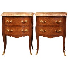 Pair of Early 20th Century Louis XV Bombe Commodes Nightstands with Marble Top