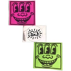 Keith Haring Pop Shop Neon Pink and Green Three Eyed Smiling Stickers c.1986