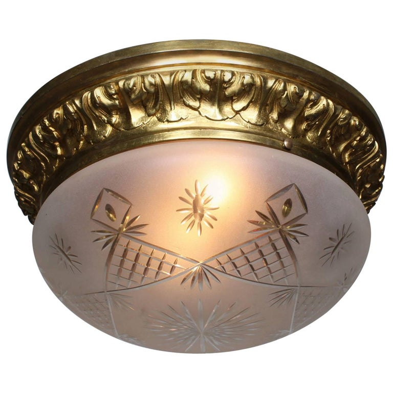 French 20th Century Gilt Bronze and Cut-blown-glass Plafonnier 'Ceiling Light'