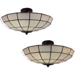 Pair of Capiz Ceiling Light Fixtures