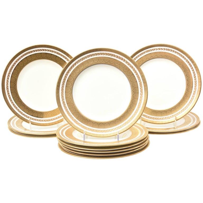 12 Tiifany Dinner Plates with Classic Raised Gilt Laurel Leaf Design, Gilt Bands