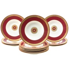 12 Custom for Tiffany, Rich Ruby Gilt Encrusted Medallion Rimmed Soup Bowls