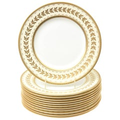 12 Dinner Plates, Custom for Tiffany, Antique with Raised Gold