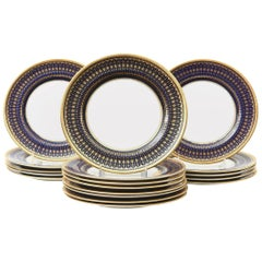 18 Striking Cobalt Blue and Gold Stripe Antique English Dessert/Salad Plates