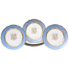 Six Celeste Blue Antique Custom Meissen Plates, Hand Enamel and Very Decorative